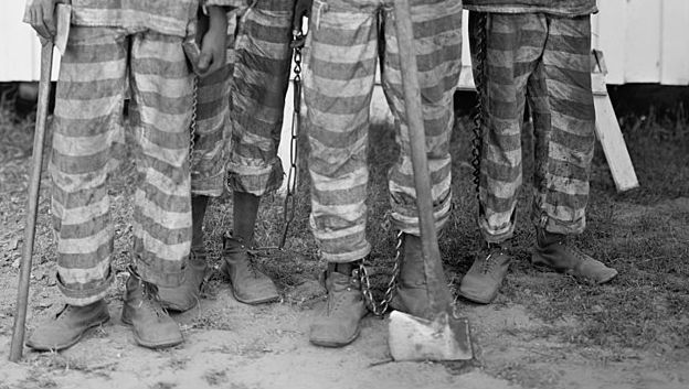 Close up of a southern chain gang circa 1903